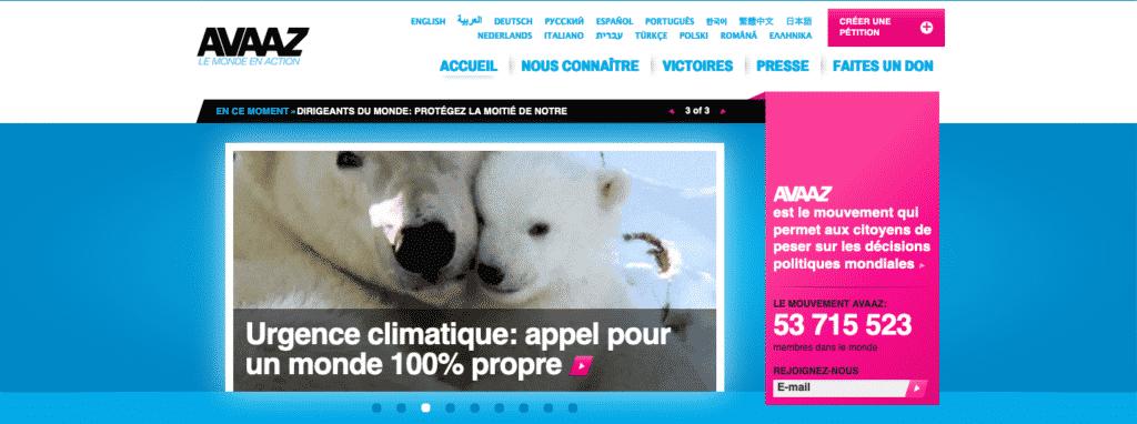 page d'accueil du site d'Avaaz France