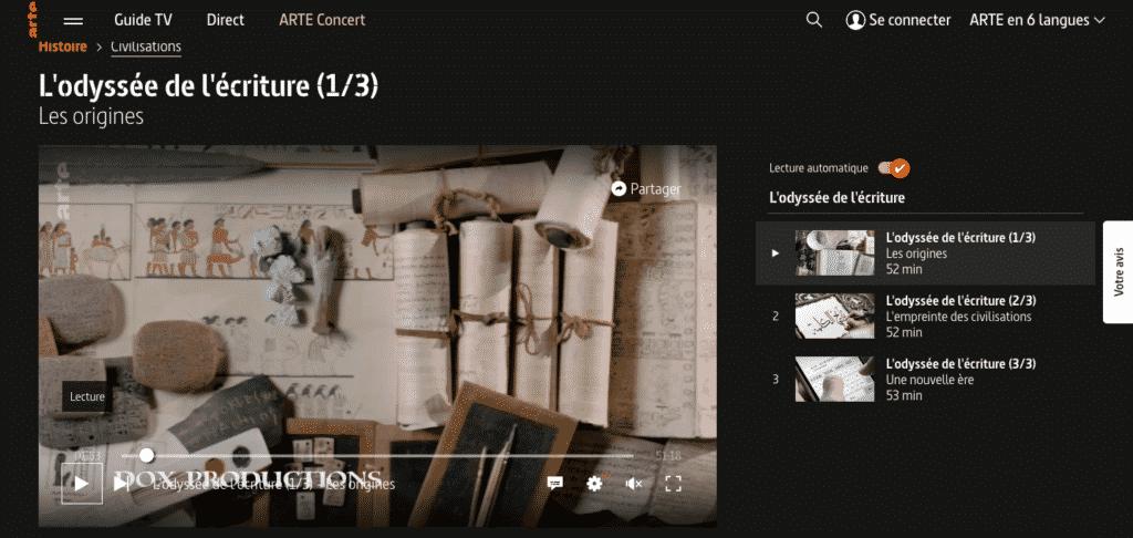 photo du site d'arte.tv sur la page du documentaire L'Odyssée de l'écriture