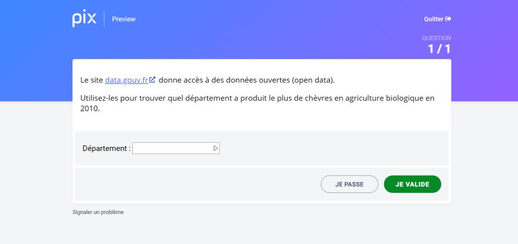 capture écran d'une question PIX