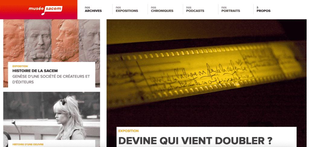 capture d'écran de la page d'accueil du site musée sacem