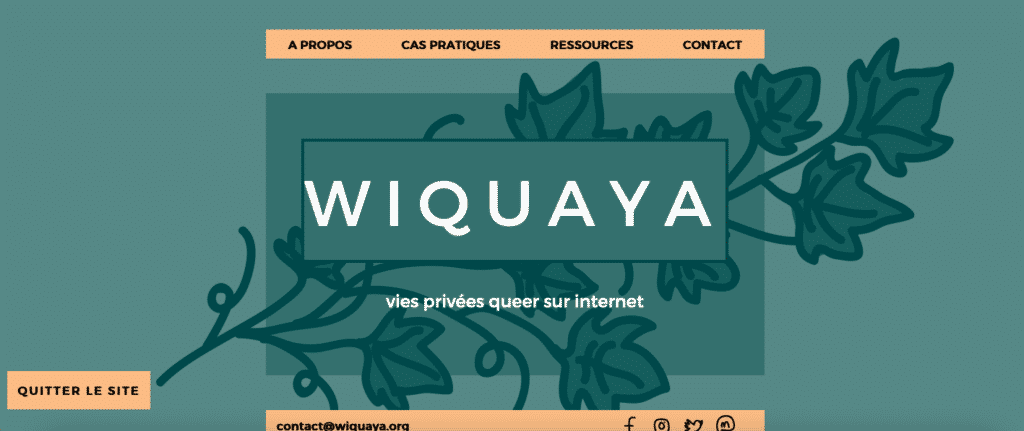 capture d'écran de la landing page du site Wiquaya